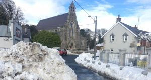 Snow in  Roundwood  on Monday. Photograph: Tim O'Brien