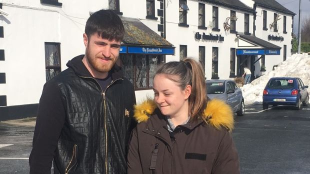 Tanya and Thomas Brady: walked to the village from the Mullinaveigne area over the weekend, but didn't venture out in the car until Monday. Photograph: Tim O'Brien