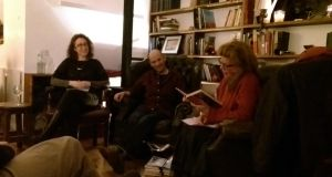 Celeste Augé, Alan McMonagle and Moya Roddy at the first Scrutable session