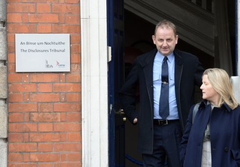 Sgt Maurice McCabe after giving evidence at the Charleton tribunal with his wife in Dublin Castle.  Photograph: Dara Mac Donaill/The Irish Times