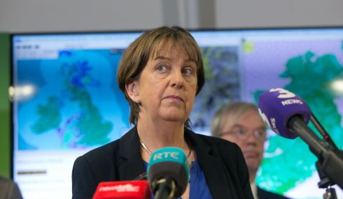 Joan Blackburn from Met Eireann speaking briefs media after a meeting of the National Emergency Co-ordination Group. Photograph: Gareth Chaney/Collins