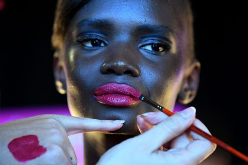 Models get their makeup and nails done in the lead up to the 2018 Melbourne Fashion Festival at the Royal Exhibition Building, in Melbourne, Australia. Photograph: Joe Castro/EPA
