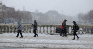 O'Connell Bridge, Dublin during Storm Emma. Photograph: Frank Miller / The Irish Times