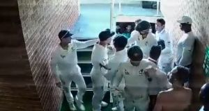 A still from the CCTV footage of the altercation between Australia's David Warner and South Africa's Quinton de Kock