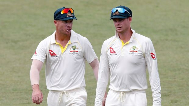 Australia's David Warner and Steve Smith leave the pitch after beating South Africa. Photograph: Rogan Ward/Reuters