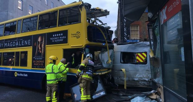 f70219f7bf1 Three hurt after double-decker bus and van collide in Dublin