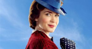 Emily Blunt in Disney's musical Mary Poppins Returns, a sequel to the 1964 Mary Poppins