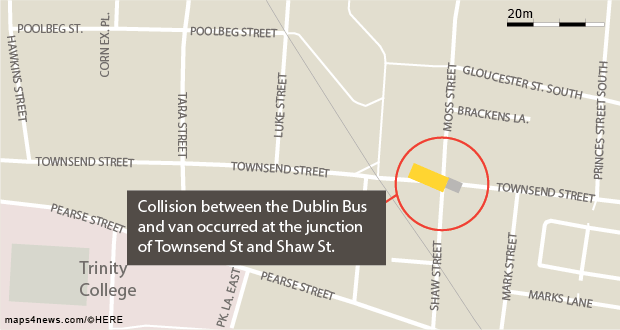 Three injured after Dublin Bus and van crash in city centre