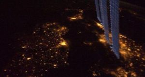 Ireland by night as seen from the window of the International Space Station.