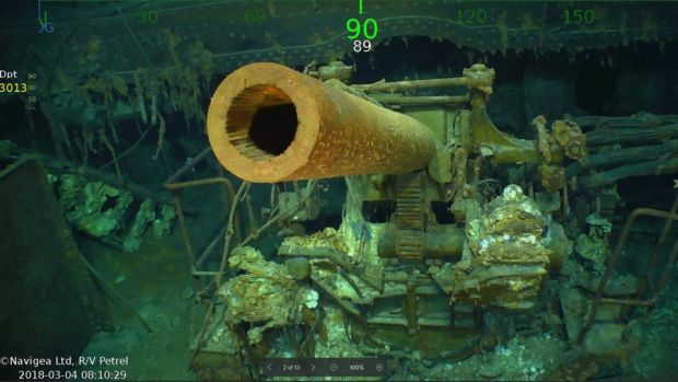 Wreckage from the USS Lexington that has been found in the Coral Sea. Photograph: Douglas Curran/AFP/Getty Images