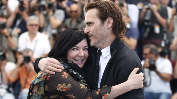 """It was a different direction for myself and Joaquin as well,"" director Lynne Ramsay with Joaquin Phoenix. Photograph: Guillaume Horcajuelo/ EPA/ REX/Shutterstock"