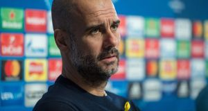 Pep Guardiola has suggested FA chief executive Martin Glenn did not understand the meaning behind his yellow ribbon. Photograph: Oli Scarff/AFP