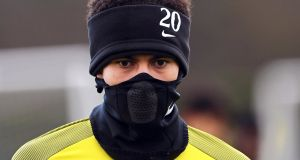 Dele Alii at a Spurs   training session in  north London on the eve of their  Champions League round-of-16  second leg match against Juventus.  Photograph: EPA/Facundo Arrizabalaga
