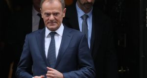 European Council president Donald Tusk will circulate the draft document to the remaining 27 EU member states before meeting with Taoiseach Leo Varadkar in Dublin on Thursday. Photograph: Daniel Leal-Olivas/AFP/Getty Images