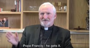 Bishop David O'Connell speaking in the original version of a video promoting the World Meeting of Families 2018.