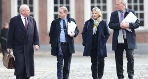 Michael McDowell, Sgt Maurice McCabe, his wife Lorraine and solicitor Sean Costello arrive at the Disclosures Tribunal in Dublin Castle on Tuesday. Photograph: Niall Carson/PA Wire