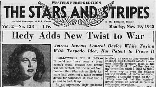 Hedy adds a new twist to the war: the Stars and Stripes, an American-forces paper, put Hedy Lamarr's torpedo-steering invention on its front page in 1945