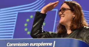 European Commissioner Cecilia Malmstrom holds a news conference in Brussels, Belgium March 7, 2018. Photograph: Eric Vidal /  REUTERS