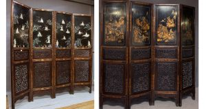 A carved blackwood and lacquered screen applied with ivory figures (€6,000-€10,000) which will be auctioned at Mullen's Auctioneers