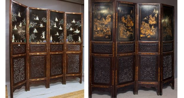 A carved blackwood and lacquered screen applied with ivory figures  (€6,000-€10,000 - After Emma And 'the Beast', A Bumper Week For Antiques Sales As