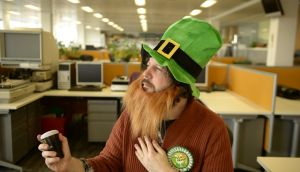 Patrick Freyne getting into the St Patrick's Day spirit in his Carrolls Irish Gifts outfit. Photograph: Enda O'Dowd