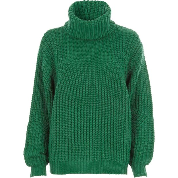 River Island's cable knit sweater in a bright emerald green for €55