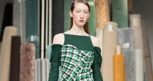 Richard Malone opens London Fashion Week for spring/summer 2018 with his catwalk show featuring green outfits. Photograph: Chris Yates
