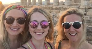 Ruth Gallagher (right),  visiting the Temple of Poseidon in Sounio with Irish friends Claire Flynn and Lisa Foley