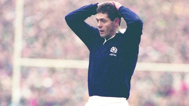 Scotland's Gavin Hastings after missing a vital penalty against England in the 1991 Rugby World Cup semi-final at Murrayfield. Photograph: Russell Cheyne/AllSport