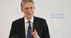 "Britain's finance minister Philip Hammond: Deal on financial services is ""very much in our mutual interest"". Photography: Stefan Rousseau/Pool"