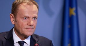 European Council president Donald Tusk speaking to the press in Senningen, Luxembourg. A draft of the broad principles of a post-Brexit free trade agreement between the EU and UK was sent out  by Mr Tusk to member states for their approval. Photograph: Reuters