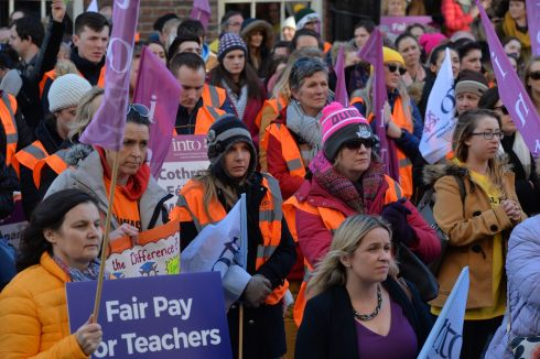 PAY REPORT: Teachers belonging to the INTO, ASTI and TUI unions protest in advance of a Government report on pay equalisation. Photograph: Alan Betson/The Irish Times