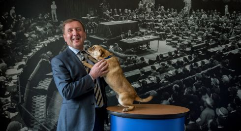 LOVE YOU, MINISTER: Minister for Agriculture Michael Creed with rescue pup Sophie during the launch of the ISPCA's Inspectorate Report 2017 at the Mansion House in Dublin. Photograph: Brenda Fitzsimons/The Irish Times