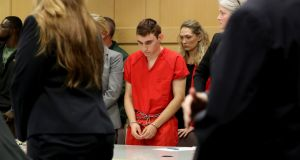 Nikolas Cruz appears in court for a status hearing in Fort Lauderdale, Florida, US, on February 19th. Photograph: Mike Stocker/Pool/Reuters