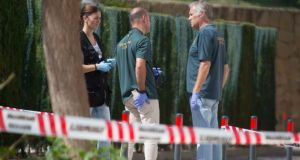 Spanish police at the scene near Marbella where Gary Hutch was shot in  September  2015. Photograph: Solarpix.com