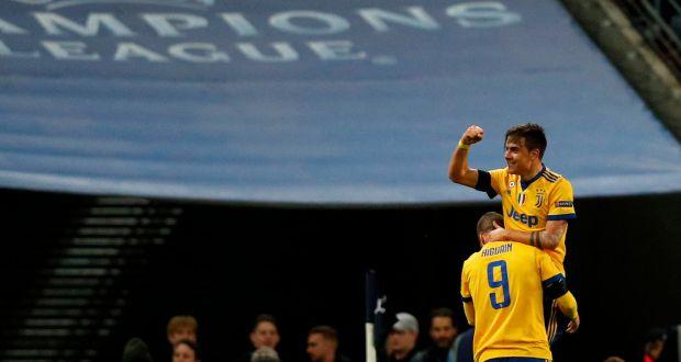 ddde0485c Gonzalo Higuain and Paulo Dybala celebrate Juve s second goal against  Spurs. Photograph  Adrian Dennis