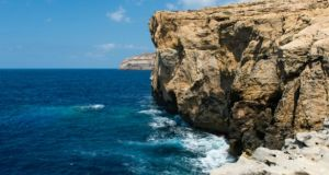 The site of the Azure Window in Gozo after it fell into the sea.