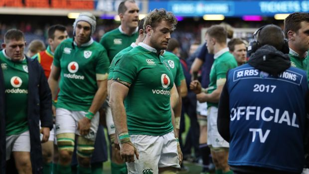 Ireland's Jamie Heaslip leaves the pitch after their defeat to Scotland at Murrayfield last year. Photo: Billy Stickland/Inpho