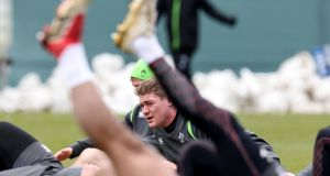 Tadhg Furlong warms up for Ireland training ahead of the Six Nations clash with Scotland at the Aviva Stadium on Saturday. Photo: Billy Stickland/Inpho