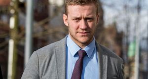 Ireland and Ulster rugby player Stuart Olding arriving at Belfast Crown Court  on Thursday.  Photograph: Liam McBurney/PA Wire.