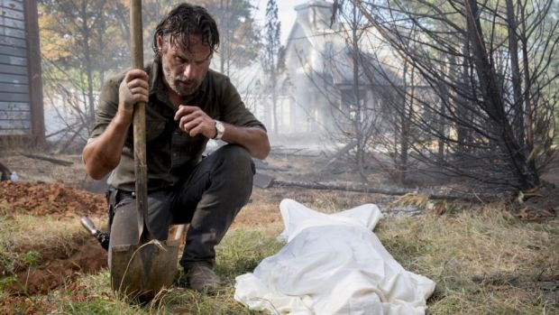 Dud dad: Andrew Lincoln as Rick Grimes in The Walking Dead – probably not the best person to go to for fathering advice