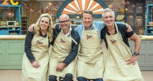 Bake that: Roisin Conaty, Harry Hill, Bill Turnbull and Martin Kemp in  The Great Celebrity Bake Off for Stand Up to Cancer, which has always been on Channel 4