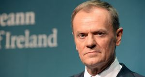 European Council president Donald Tusk at Government Buildings. Photograph: Cyril Byrne/The Irish Times
