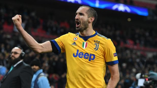 Juventus's Giorgio Chiellini celebrates after their 2-1 victory over Tottenham Hotspur at Wembley Stadium in London. Photograph: Facundo Arrizabalaga/EPA