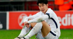 Tottenham Hotspur's South Korean striker Son Heung-Min reacts to their defeat on the pitch after the  Champions League defeat to Juventus at Wembley. Photograph: Ian Kington/AFP/Getty