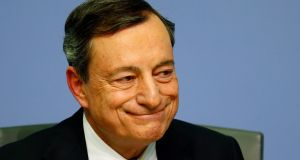 "ECB president Mario Draghi said monetary policy would remain ""reactive"" and that underlying inflation was subdued. Photograph: Reuters"