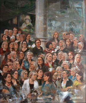 The group portrait featuring all 53 female members of the Dáil and Seanad painted by Noel Murphy as part of the Votáil100 campaign to mark the 100 years of women's' suffrage.