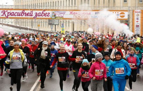 "Women participate in the ""Beauty Run"" to mark International Women's Day in Minsk, Belarus. Photograph: Vasily Fedosenko / Reuters"