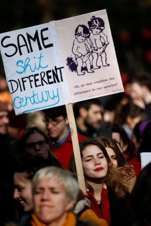 People attend a pro-women rights rally in central London, Britain. Photograph: Henry Nicholls / Reuters