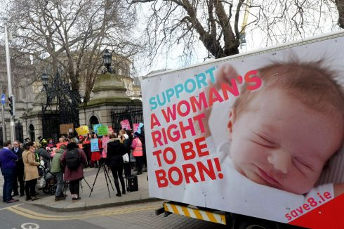 A group who describe themselves as feminists against abortion demonstrate outside the Dail. Photograph: Cyril Byrne / The Irish Times